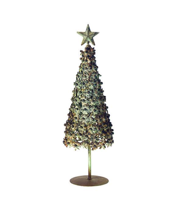 Juletræ med blomster metal 35cm