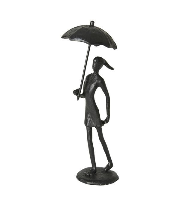 pige med paraply sort jernfigur