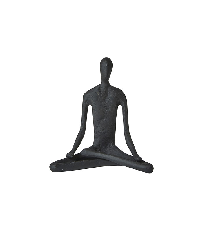Sort metalfigur yoga 11cm