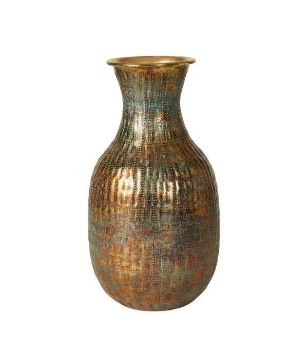 Vase antik gylden metal 22x40cm