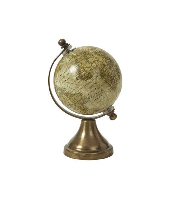 Globus på messingfod creme 14 cm