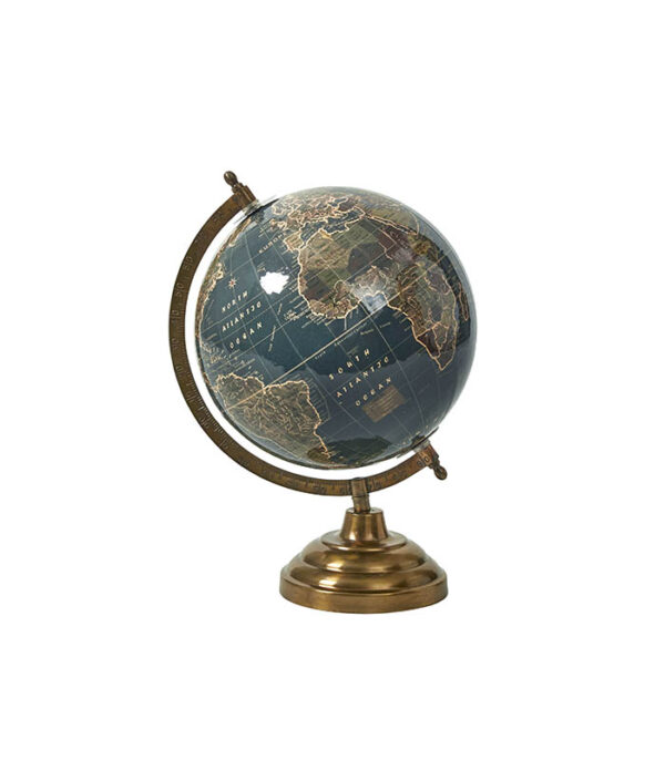 Globus med messingfod 33cm shiny blue