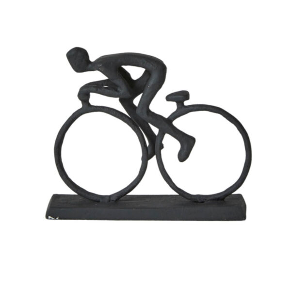 Sort cykelrytter jernfigur 10 cm