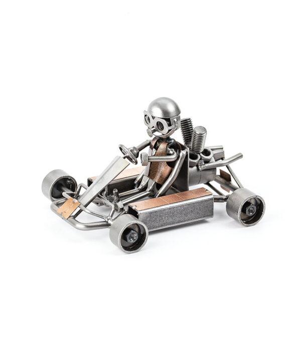 Gokart racer kører metalfigur