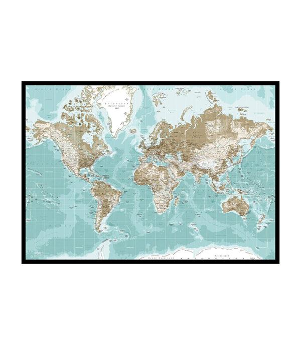 Lærredstryk winther pin board verdenskort