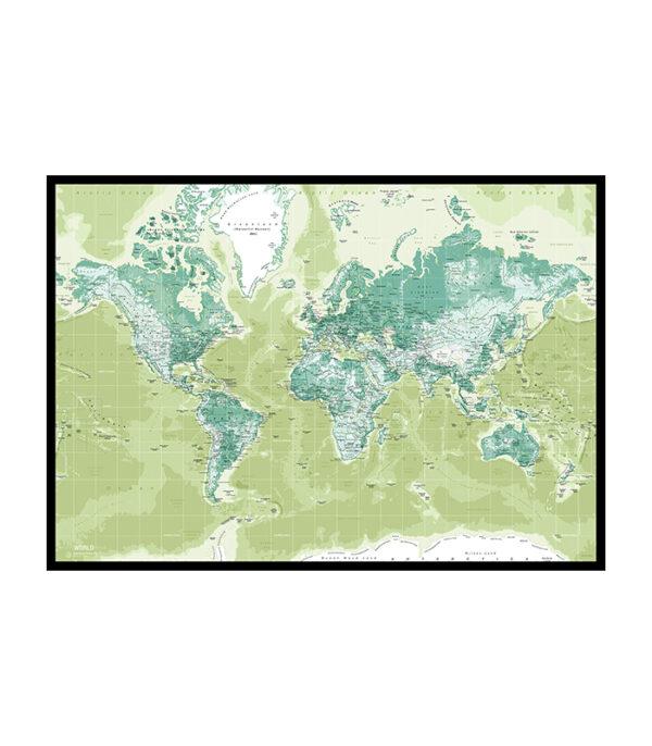 Pin board verdenskort Grøn i sort træramme