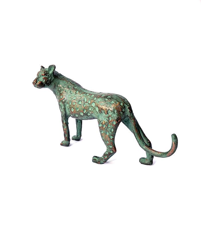 leopard 25 cm i antik grøn