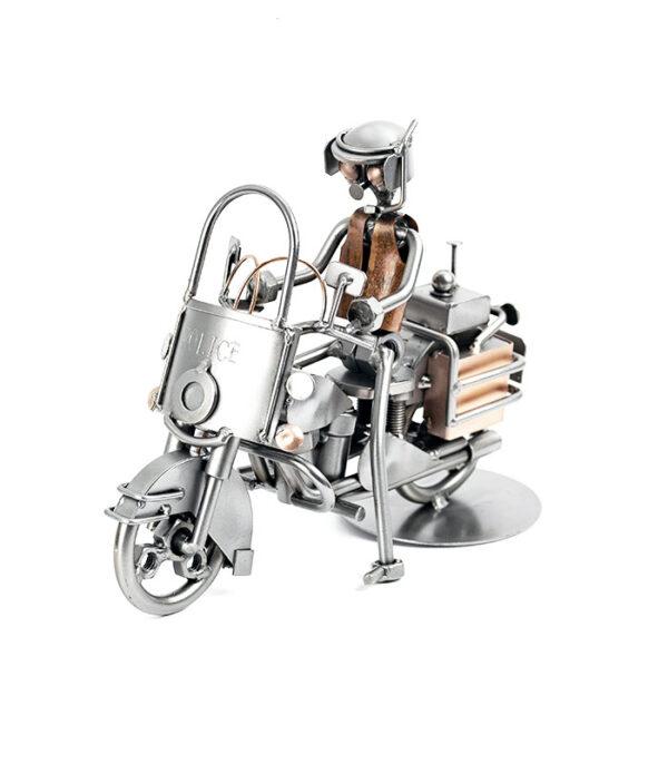 Civil politi motorcykelbetjent metalfigur