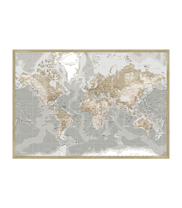 Lærredstryk gråt pin board verdenskort