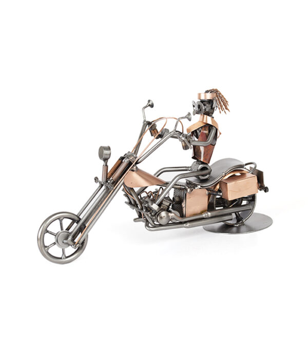 Bikerkvinde på Harley Davidson metalfigur