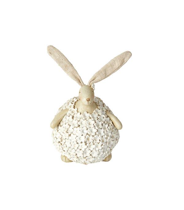 hvid kanin med blomster