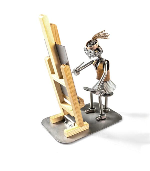 kunstmaler kvinde metal figur gave