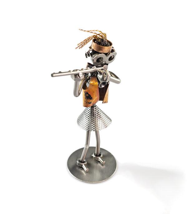 fløjtespiller kvinde metalfigur