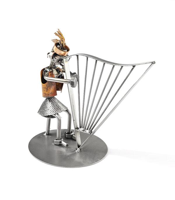 harpespiller metal figur